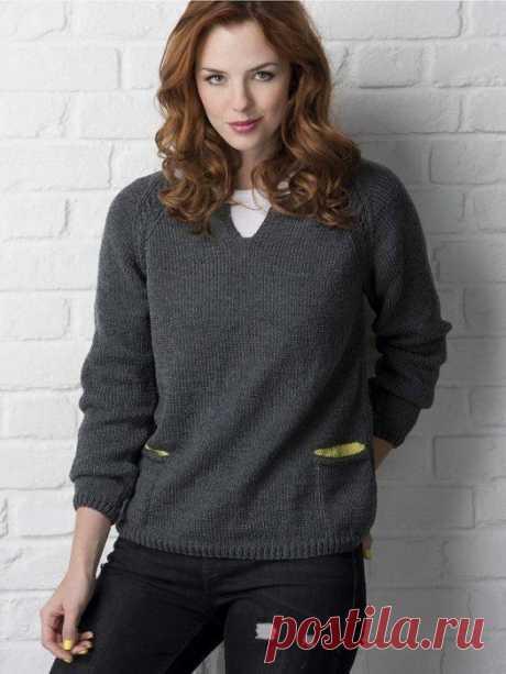 Пуловер-реглан с карманами