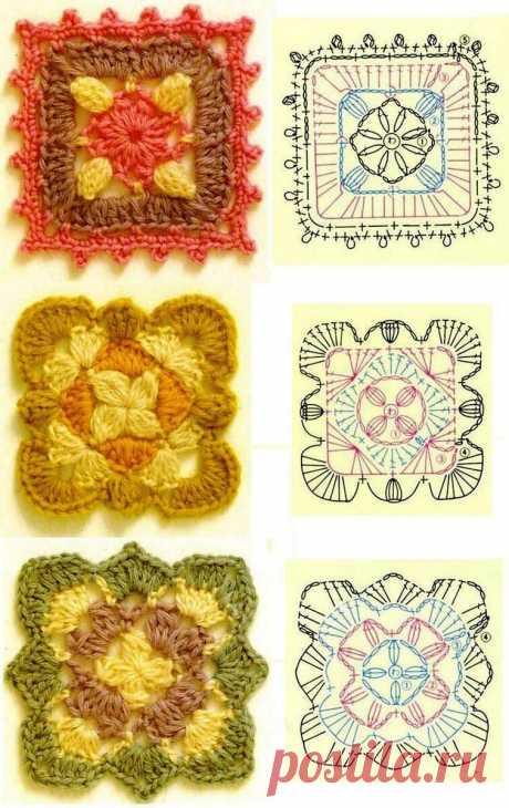 Бабушкин квадрат, схемы вязания крючком. | Елена Новожилова | Яндекс Дзен