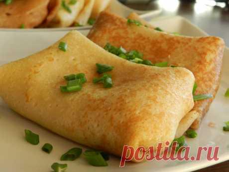 Для завтрака выходного дня… Блинчики с сырно-ветчинной начинкой — Готовим дома