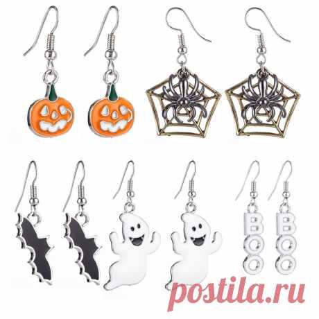 Halloween decoration drop dangle earrings with pumpkin spiderweb bat ghost patterned Sale - Banggood.com