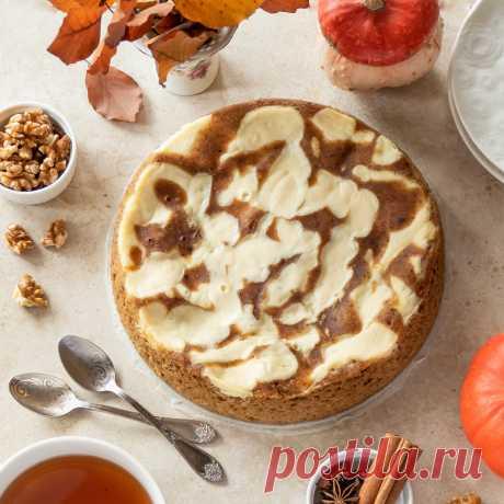 Мраморный тыквенный пирог с чизкейком - пошаговый рецепт с фото