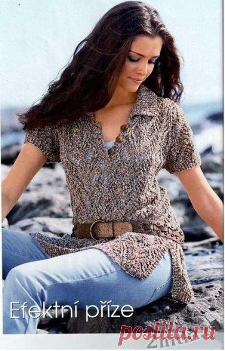 Пуловер с воротником спицами — Две нитки