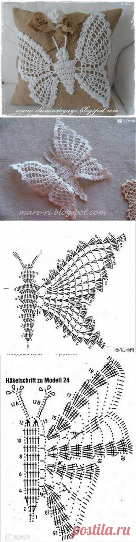 Бабочка крючком для украшения подушки из мешковины. Схемы бабочек.