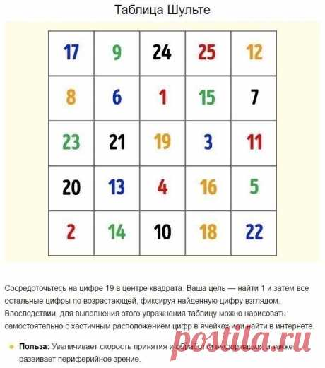 Таблица Шульте или как не потерять трезвый ум в конце рабочего дня   Красноперекопск Online - Общественный проект