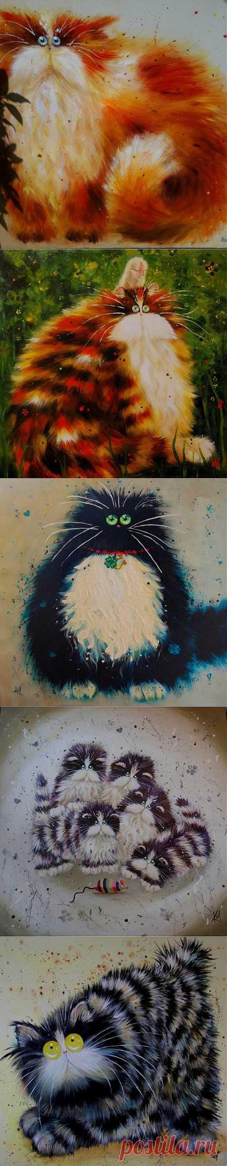 (+1) тема - Забавные глазастые коты от Ким Хаскинс | Четвероногий юмор