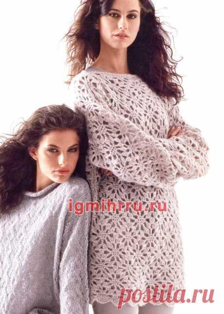 a37d60e2048 Свободный ажурный пуловер из кид мохера. Вязание крючком