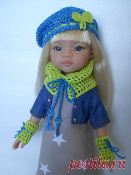 Вязание для кукол. Шарф-воротник и митенки для Paola Reina - новый мастер-класс от Ольги Портновой!