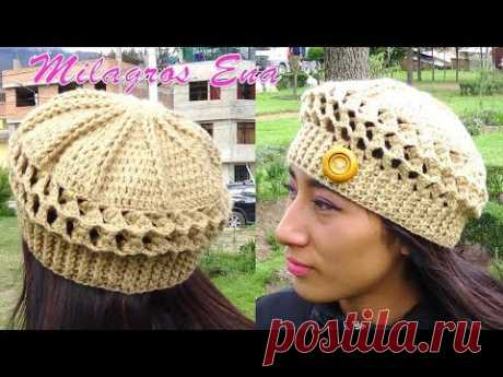 Boina a Crochet en Punto Panal de Abeja o nido de Abeja paso a paso en diferentes tallas