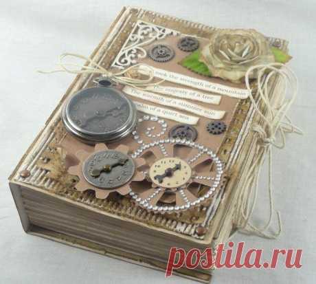 Оригинальная коробочка в форме книжки. Скрапбукинг. МК