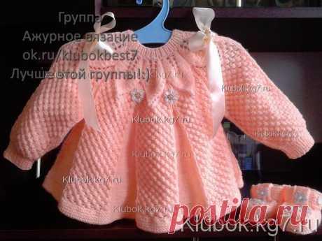 Персиковая кофточка спицами для девочки.