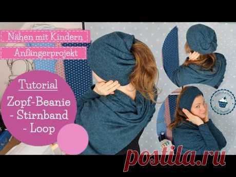 Zopf-Beanie Stirnband Loop nähen | Schüttelmütze | ohne Schnittmuster | Ponytail hat | mommymade