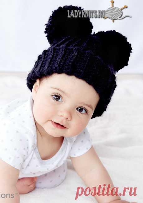 Вязаная крючком теплая простая шапка для ребенка от 6 месяцев до 2 лет