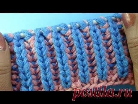 Начинаем вязать – Видео уроки вязания » Двухцветная английская резинка – Узоры вязания спицами №23