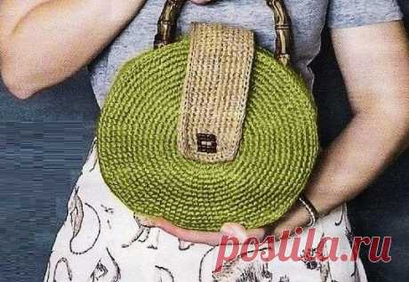 Простой способ связать модную круглую сумку (описание) | Идеи рукоделия | Яндекс Дзен