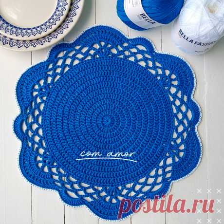 Sousplat de Crochê Azul com Fio Bella Fashion - Blog do Bazar Horizonte
