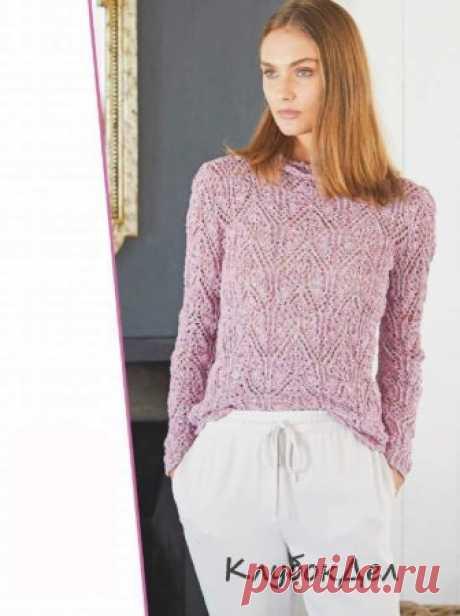 Розово-сиреневый меланжевый пуловер Летний твид: именно такое впечатление оставляет меланжевая пряжа на основе хлопка и льна.