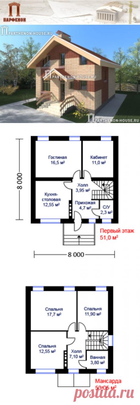 Проект дома из керамического крупноформатного термоблока КА 107-9  Площадь застройки: 82,80 кв.м. Площадь общая: 107,90 кв.м. Площадь жилая: 69,70 кв.м.   Технология и конструкция: строительство дома из крупноформатного керамического термоблока. Фундамент: монолитные ж/б. Цоколь: толщина 510 мм из полнотелого керамического кирпича.