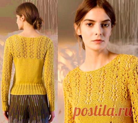 Пуловер с ажурной кокеткой | ДОМОСЕДКА