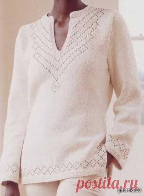 Стильный пуловер с ненавязчивым ажуром