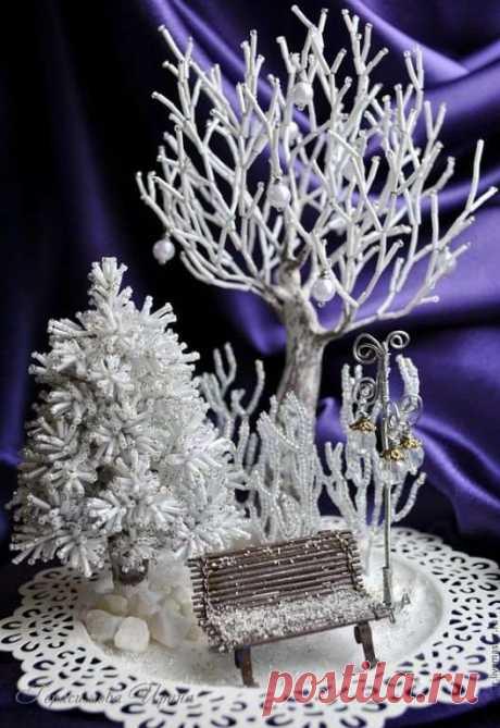 Немного зимней красоты из бисера Вам в ленту. | Люблю Себя