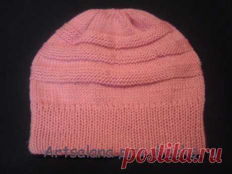 Теплая вязаная шапка с двойной резинкой на круговых спицах своими руками