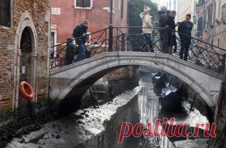 В Венеции рекордное наводнение сменилось небывалым пересыханием каналов