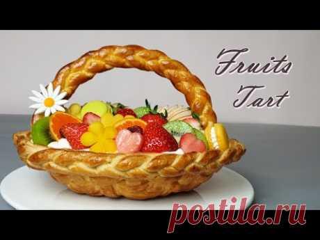 Красивый фруктовый пирог рецепт / корзиночный пирог / клубничный компот рецепт
