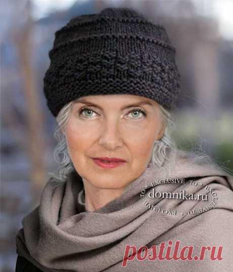 Простая вязаная шапка спицами для женщин 60 лет - японские схемы вязания шапки