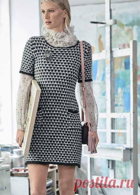 Короткое платье с карманами - схема вязания спицами. Вяжем Платья на Verena.ru