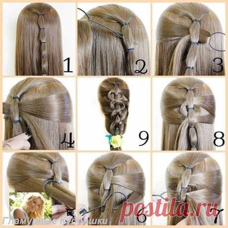 коса с помощью силиконовой петли  #коса