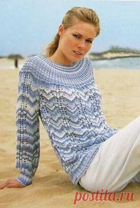 Пуловер с круглой кокеткой.Вязание спицами