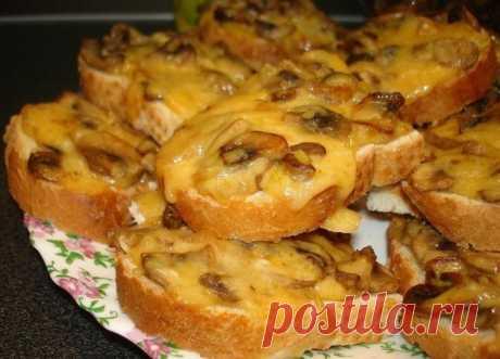 Горячие бутерброды с шампиньонами и сыром - простой рецепт - Простые рецепты Овкусе.ру
