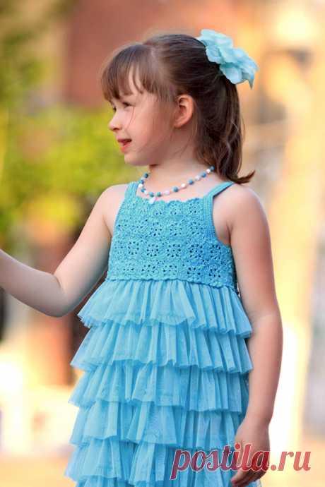 Сарафан для девочки с кокеткой крючкой (разм.116)   Дневник Иримед