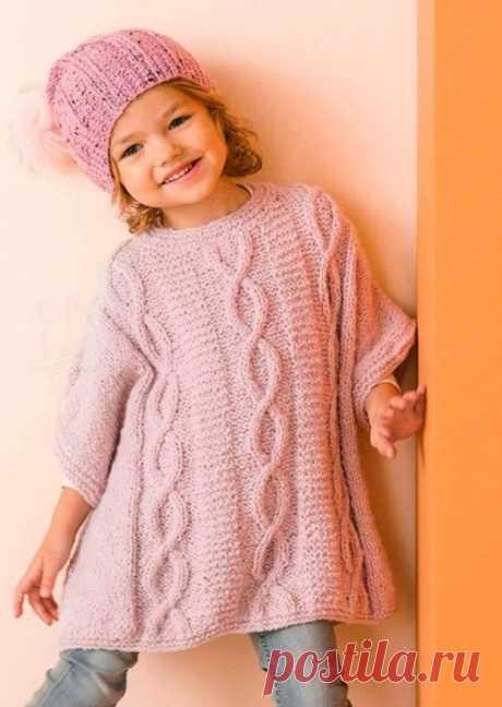 Как связать Детское платье-пончо спицами