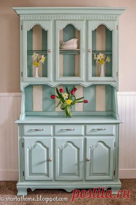 Refinished Teal Farmhouse Hutch by Start at Home Decor