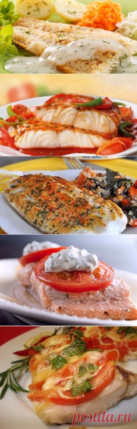 La cena de pez a la elección de la elección de las recetas.