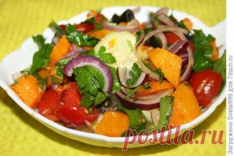 Салат с помидорами и жареной тыквой. Пошаговый рецепт с фото