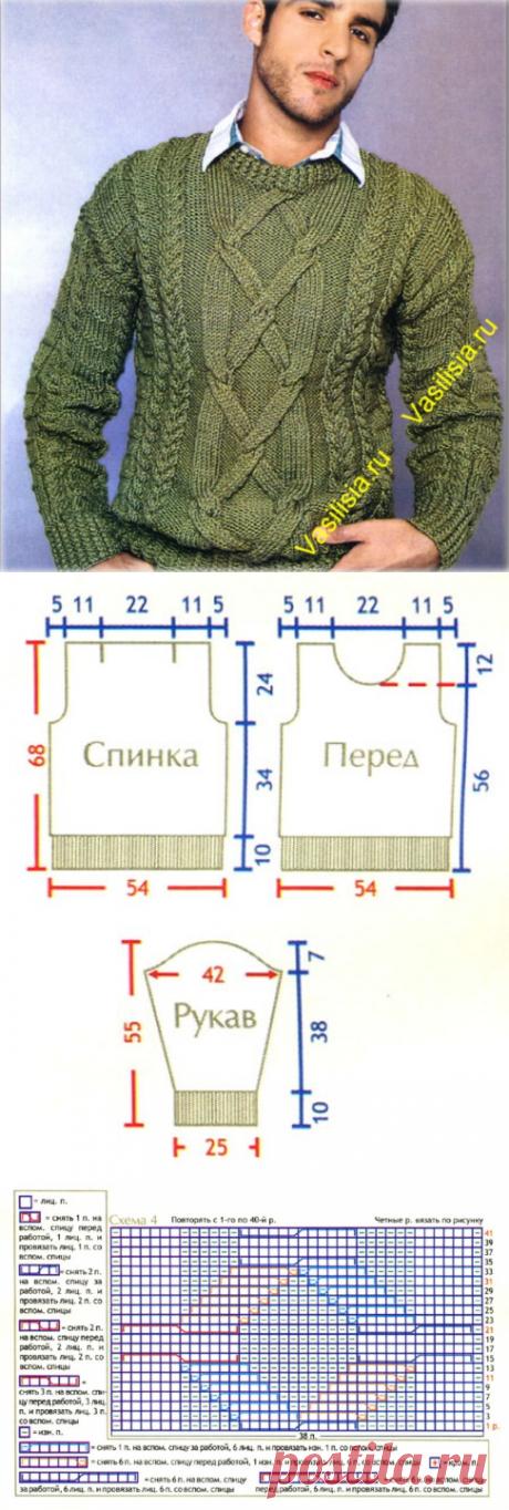 Оливковый вязаный мужской свитер с косами схема | Вязание спицами и крючком