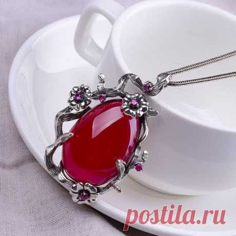 925 Silver Lady Sweater Necklace/Water Drop Red Corundum Pendant  / Charm Necklaces / Christmas Gift / Plum Necklace Product Details:  Material: 925 silver, red corundum  color: red  Shape: water droplets  Size: red corundum length: 3.4cm width: 2.2cm  Pendant length: 5.5cm width: 3.6cm.  Weight: 27.8 grams  Translucent: translucent  Symbol: Good luck to you
