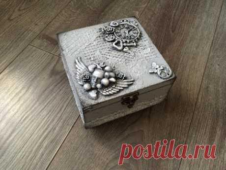 Декорирование деревянной шкатулки. Используем декор из полимерной глины. Handmade.