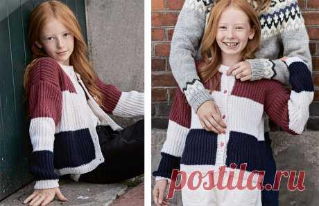 Детская полосатая кофта на пуговицах - схема вязания спицами с описанием на Verena.ru