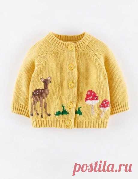 Красивая вышивка для детской кофточки. Идея   Золотые ручки. Вязание спицами, крючком