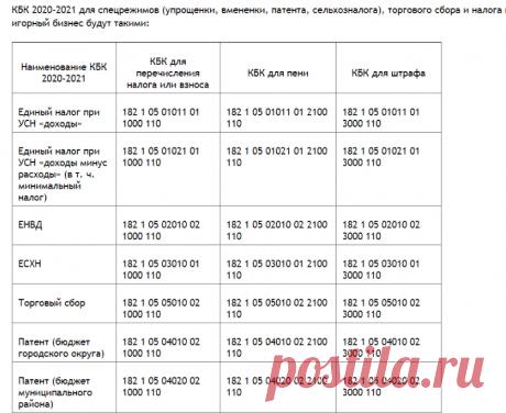 Изменения в КБК на 2020 - 2021 годы - таблица с расшифровкой - nalog-nalog.ru