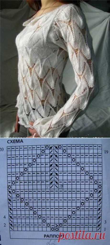 Интересный пуловер спицами.