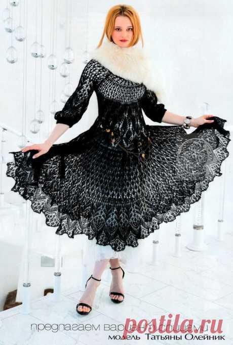Платье шетландскими узорами. Спицы.