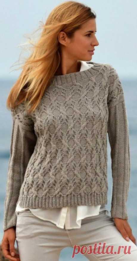 Пуловер с узором Колос спицами