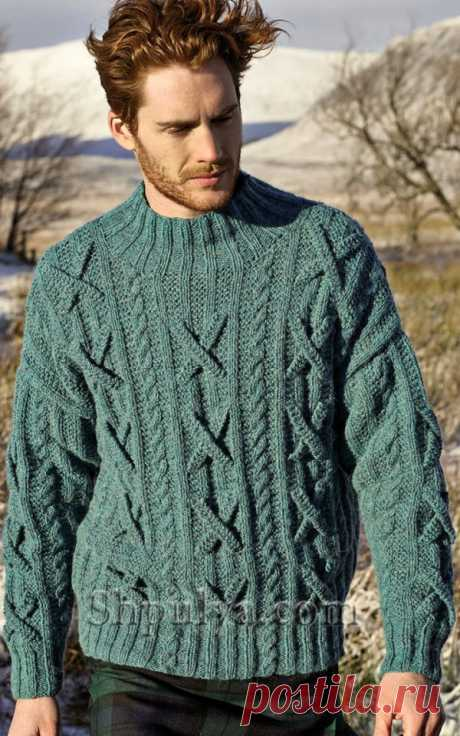 www.SHPULYA.com - Мужской свитер спицами