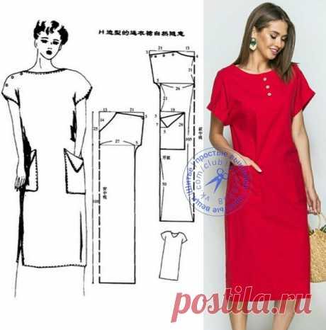 Платье прямого силуэта с накладными карманами. #простыевыкройки #простыевещи #шитье #платье #выкройка
