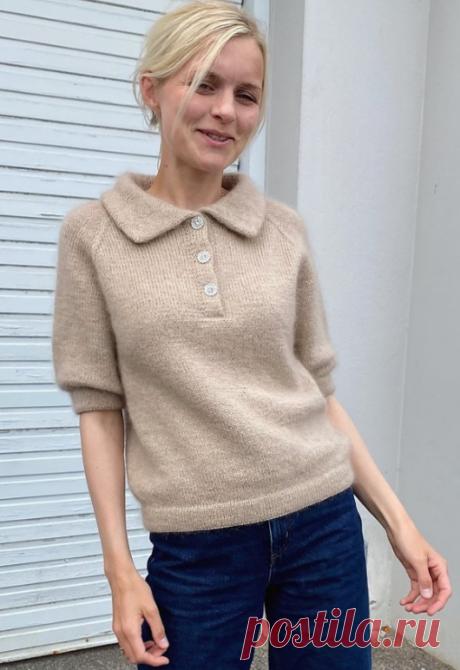 Вязаный пуловер-поло Мод | ДОМОСЕДКА