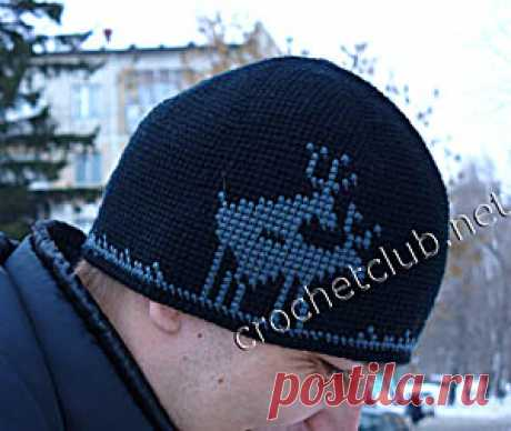 """The man's hat \""""Deer\"""" connected in jacquard equipment - Knitting by the Hook. Nastik's blog"""